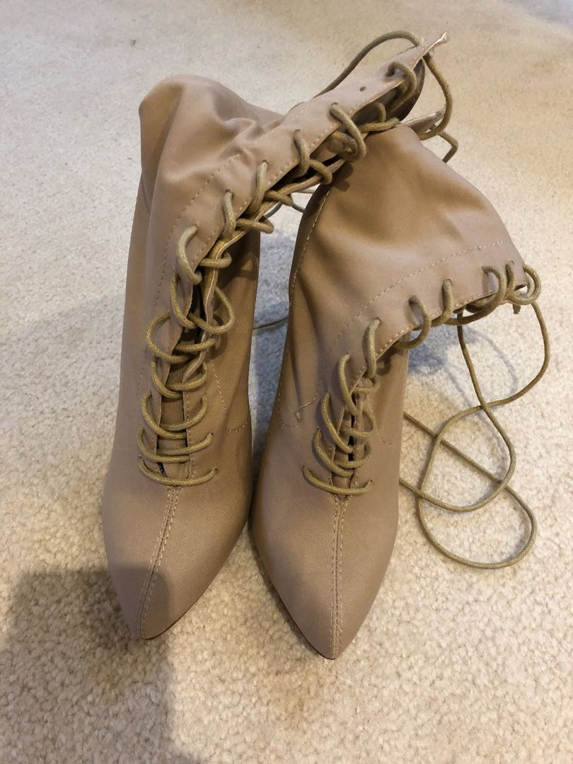 Lace up sock booties yeezy style size 6