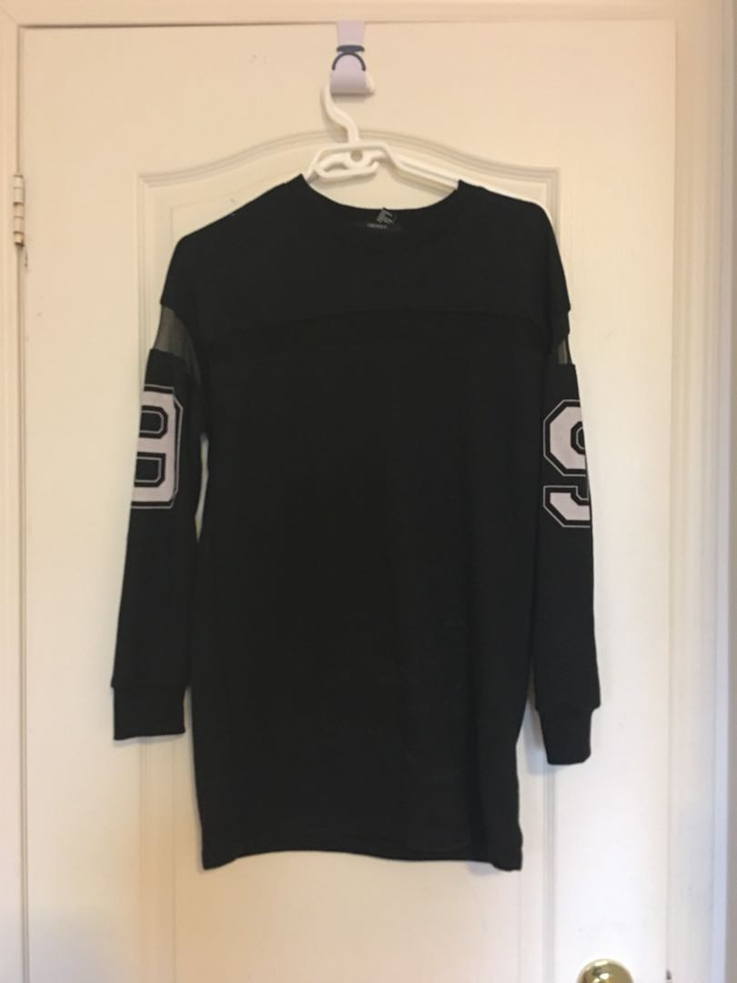 Long Black Sweater with Mesh Details