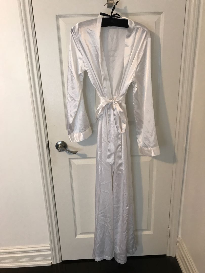 Long white satin robe