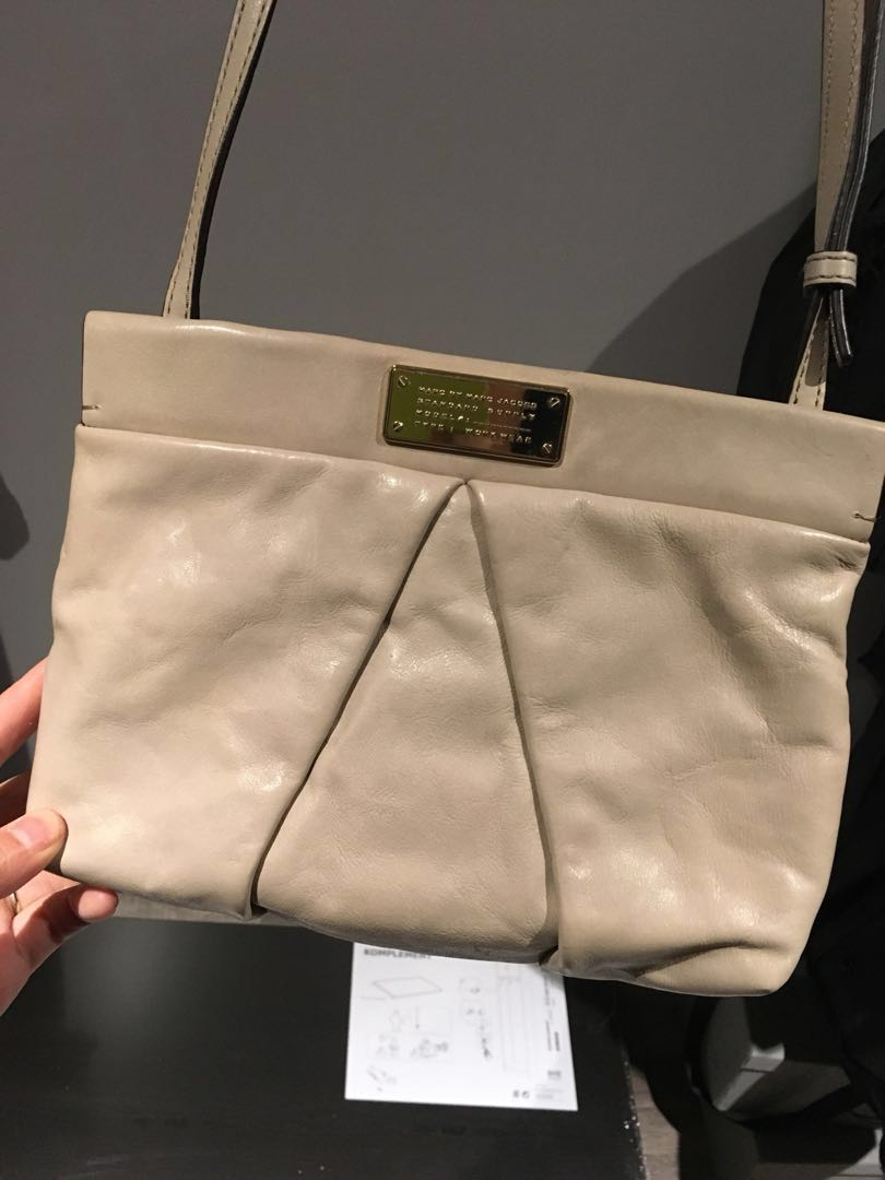 Marc Jacob small leather messenger side bag taupe colour