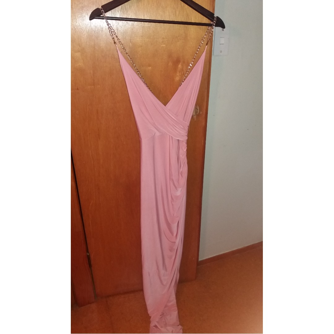 Missguided Slinky, Pink Gown with Gold Chain (Size 6/8)