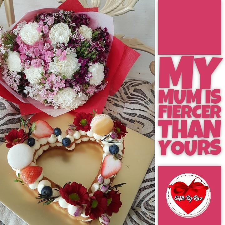 Mother\'s Day Fresh Flower Bouquet with Heart Shaped Tart, Gardening ...
