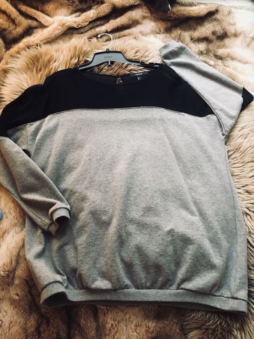 NEW grey and mesh sweater