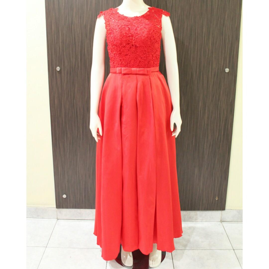 Red Brukat Long Dress Party Fesyen Wanita Pakaian Gaun Maxi Rok Di Carousell