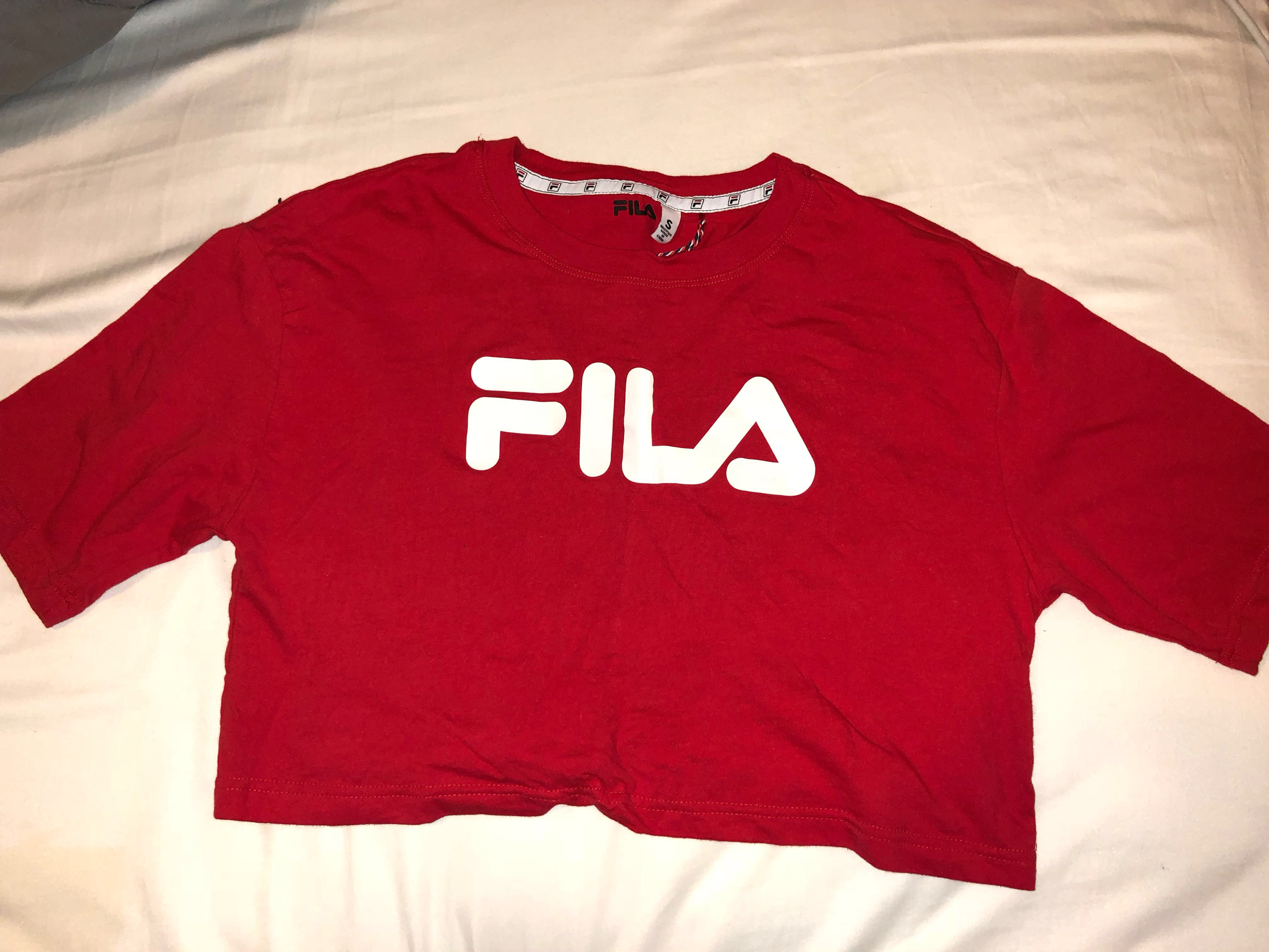RED FILA CROP TOP