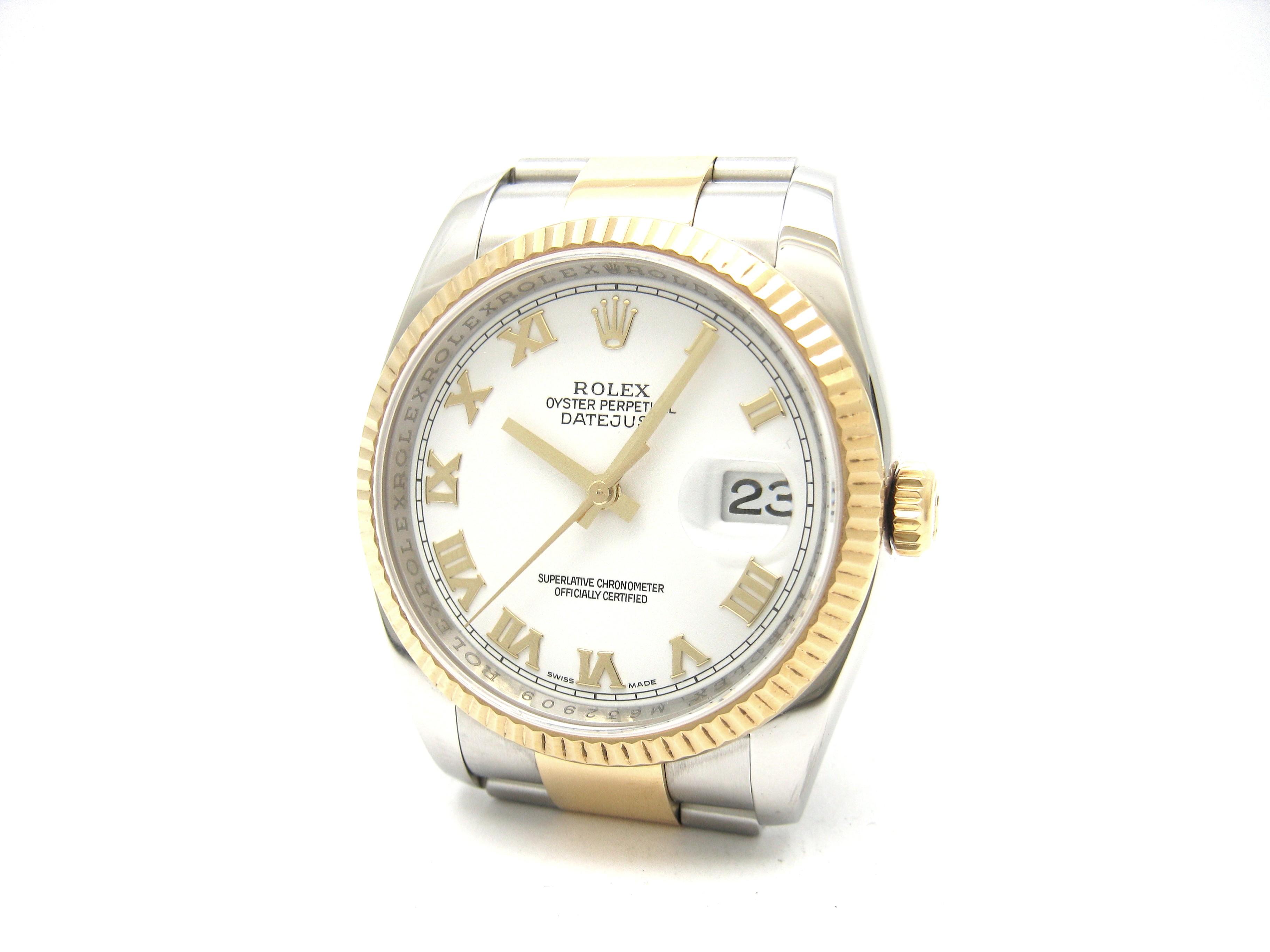 b9946a7e7072c Rolex MEN-DATEJUST 36mm Steel   18ct White Gold Ref 116233- M series ...