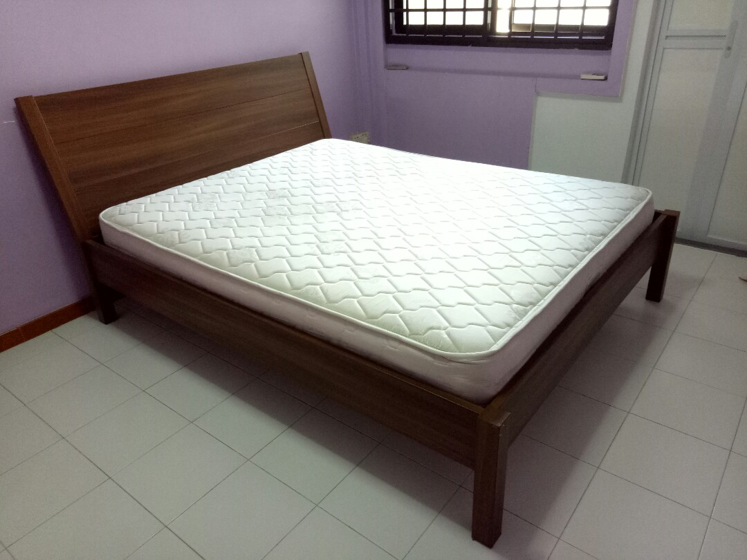 Sturdy Wooden Queen Bed Frame Free Mattress Furniture Beds