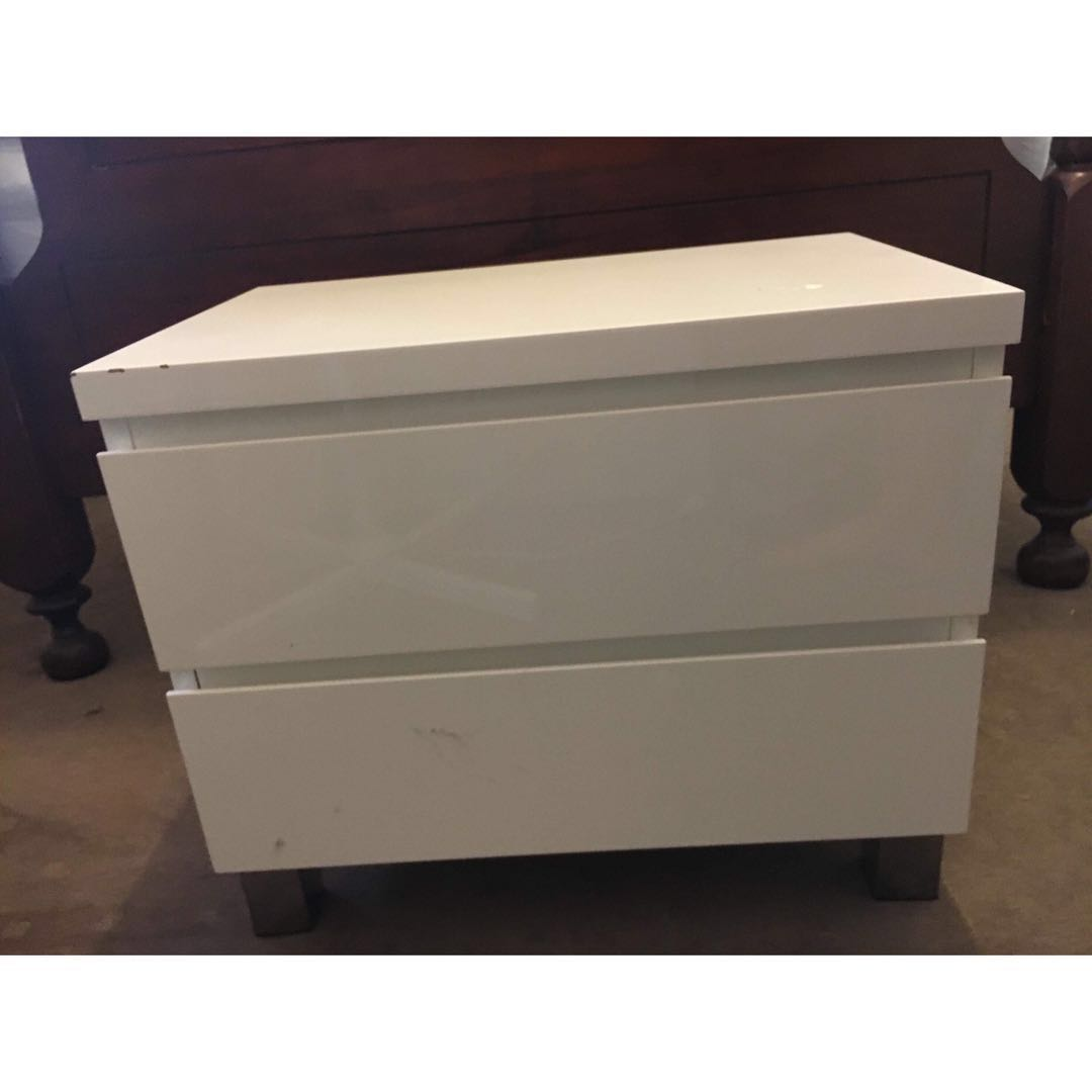 Two white bedside table