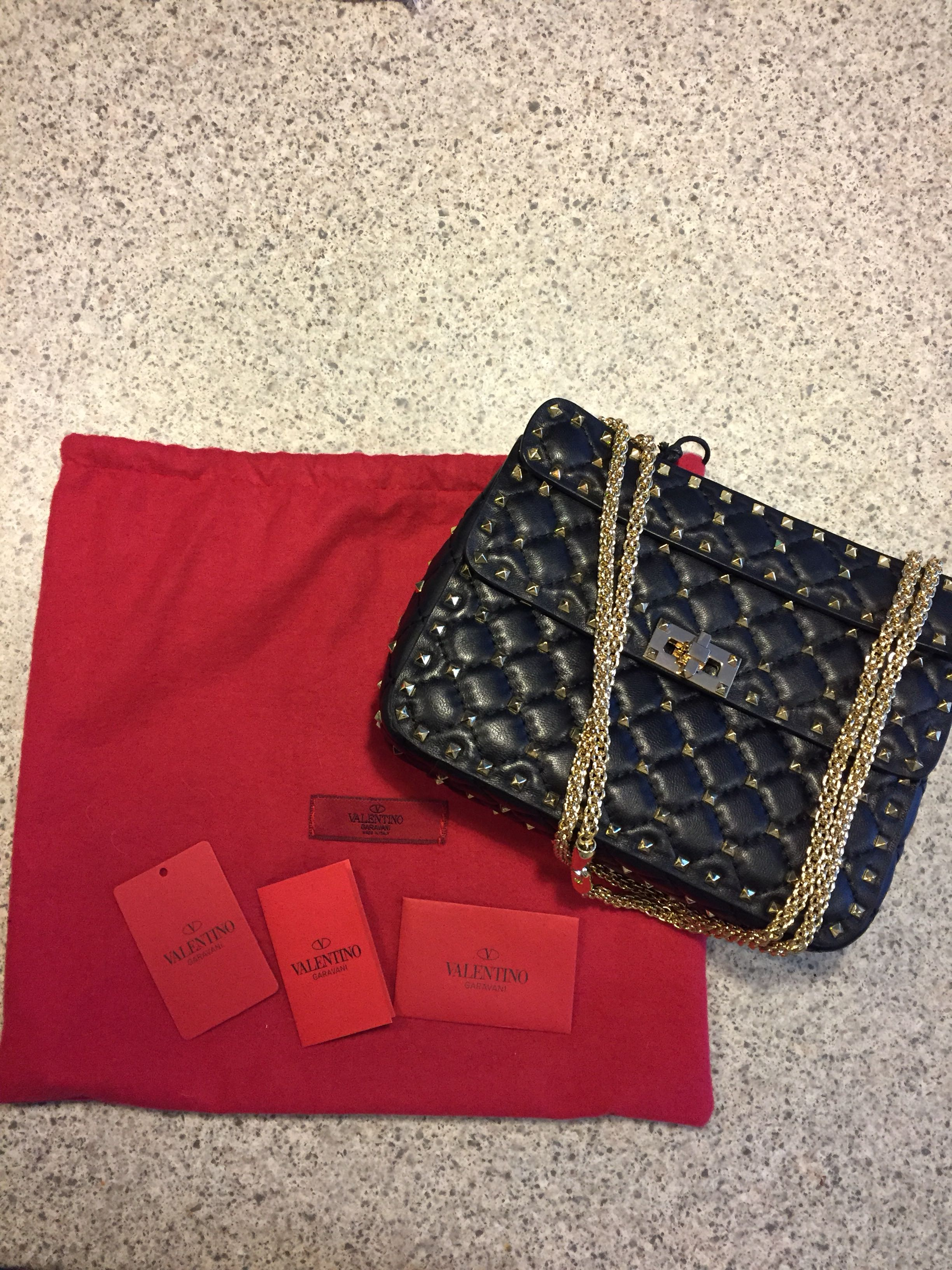 Valentino Rock stud Quilted leather chain bag crossbody