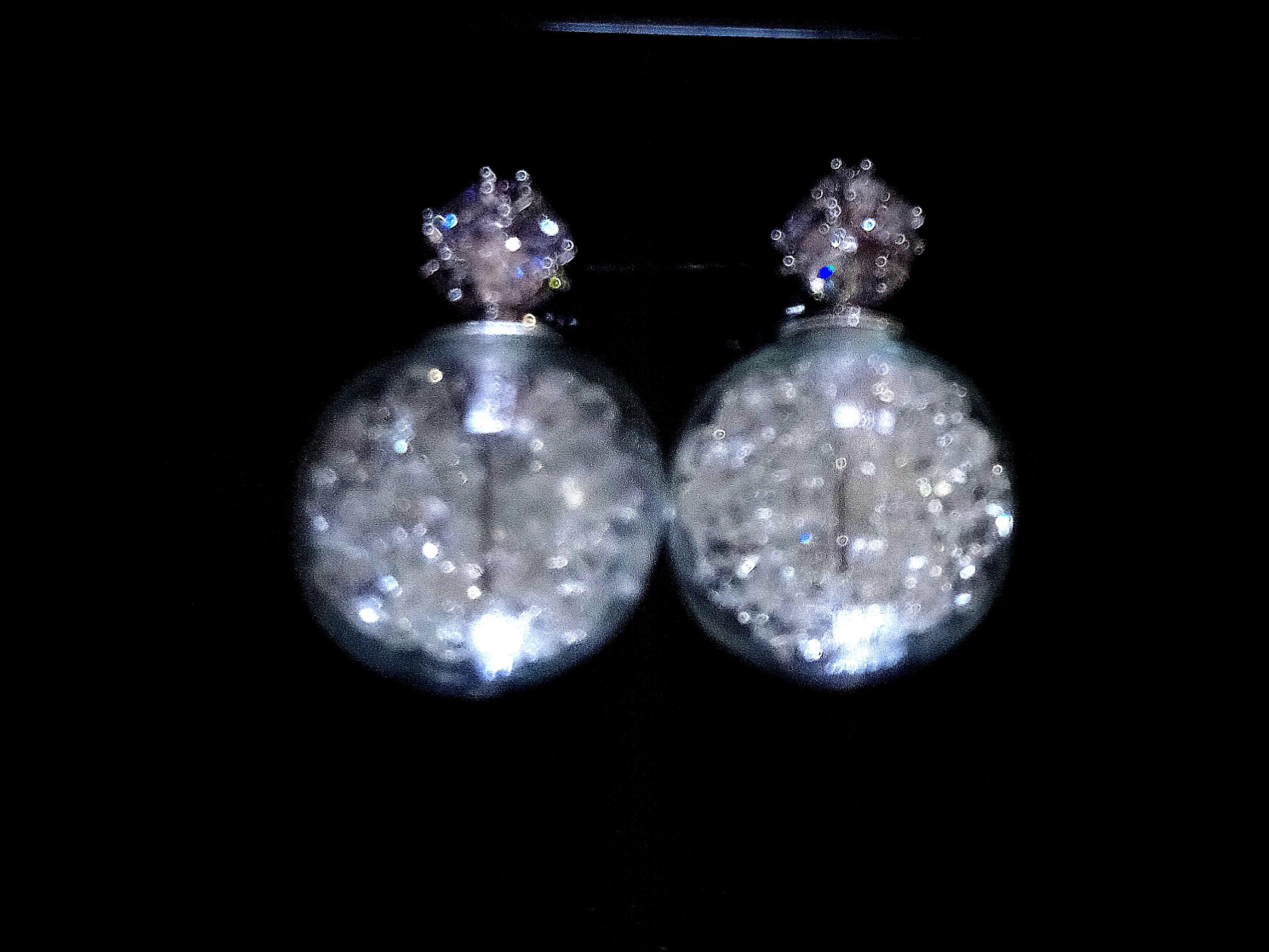White Crystal Globe Earrings