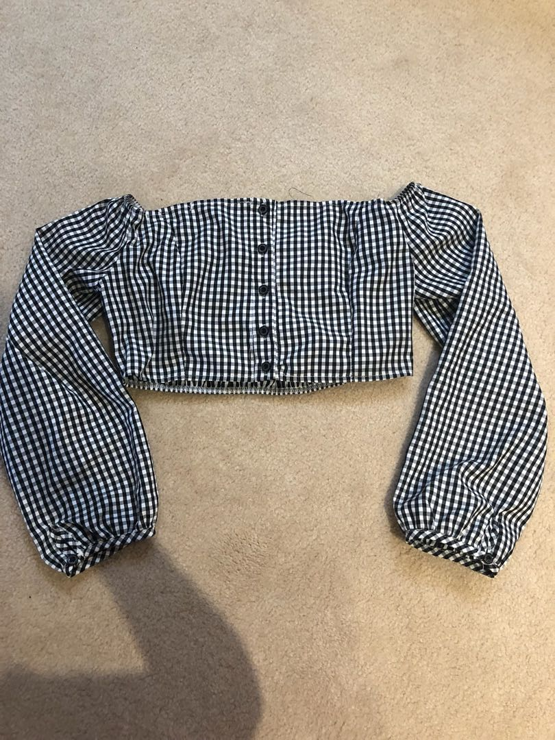 Zaful gingham off the shoulder crop top size small