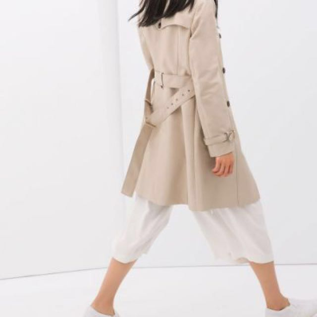Zara Beige Trench Coat - Size Small