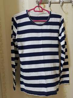 Dark Blue Striped Long Sleveed Top