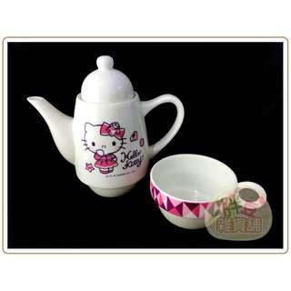 『胖豆雜貨舖』[全新] hellokitty 凱蒂貓 / 杯具組 茶具組 / 茶壺和杯子可合體