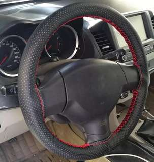 DIY Leather Steering Wheel Cover (Red & Black)