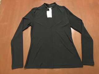 Authentic New  Small Black H&M Long Sleeve Deep V Neck Top