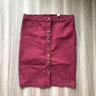 全新-單排扣酒紅短裙