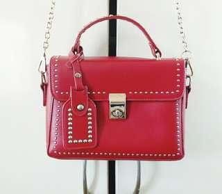Ladies Studded Red Sling Bag
