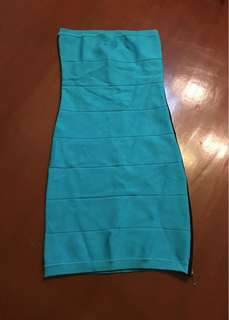 Authentic XS BEBE Blue Green Strapless Side Zip