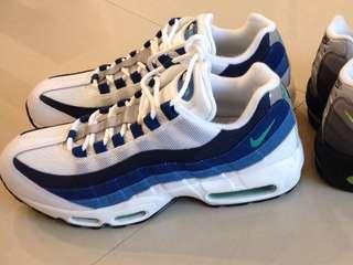 全新真品Nike air max 95 OG 深藍白 9.5 少見 夏天必備 比off white yeezy supreme 便宜
