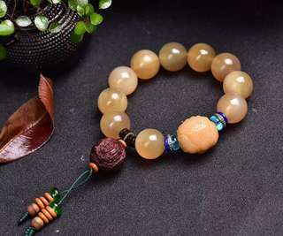 Pure natural Tibetan antelope horn 16mm round bead horn hand string.