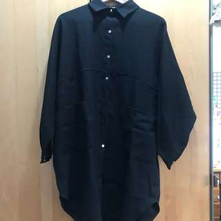 🚚 CORBAN  設計款 黑色長版襯衫 洋裝
