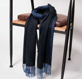 (BRAND NEW) Oyster Ripple finish double-faced CASHMERE scarf