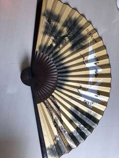 Big Wooden Fan - Chinese Calligraphy