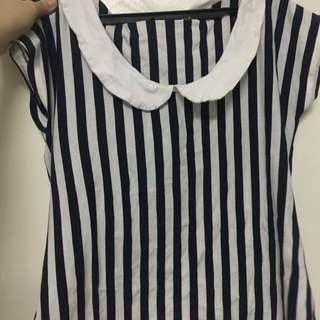 Striped collared office top/blouse