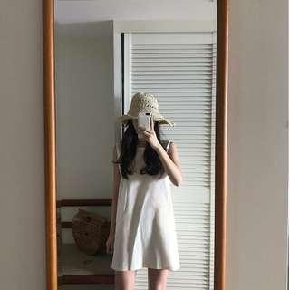 背心口袋設計素色簡約洋裝