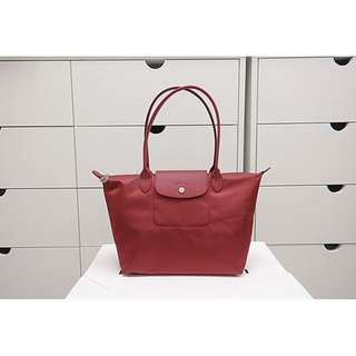 5adfdf03fffc Longchamp Le Pliage Neo Long Handle Small Red 2605 578 545