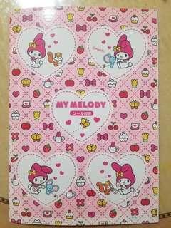 絕版1999年My Melody單行簿(內附貼紙)