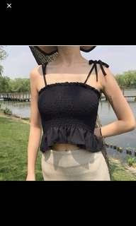 Black tie strap smocked crop top