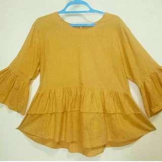 mustard flare blouse