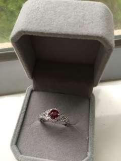 天然紅寶石925銀戒指