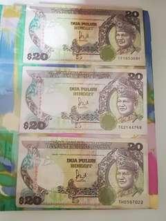 MALAYSIA RM20 Complete Prefixes TF TG TH