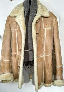 Mens M Sheepskin Shearling Coat 38 40