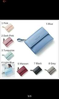 7 Colors! Women's Short Vertical Wallet Coin with Zipper