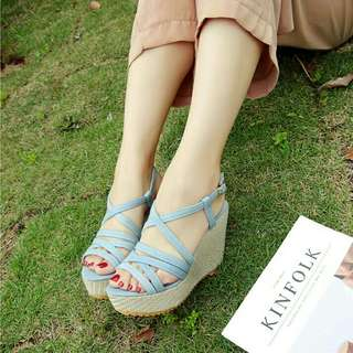 Light Blue Jeans Wedge sandals