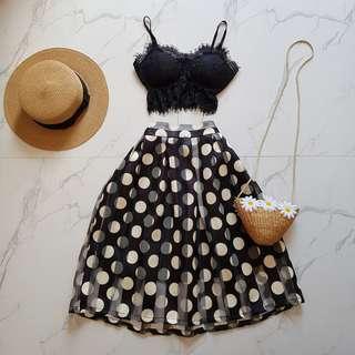 Polka dots black midi skirt
