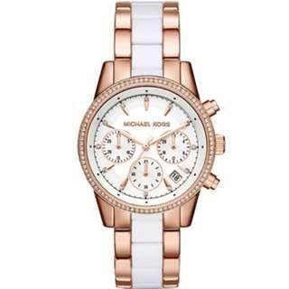 正品代購 美國新款 Michael Kors MK6324 羅馬 水鑽 三眼計時 白色錶盤 手錶 時尚錶 MK錶 女錶