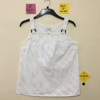 ❗️REPRICED❗️Ann Taylor Loft Plain White Sleeveless Top with Wooden Ring Detail - flaw on 3rd pic