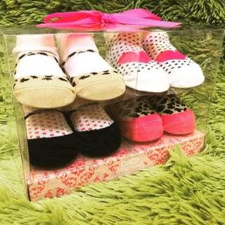 嬰兒 新生兒 襪子禮盒(4入)