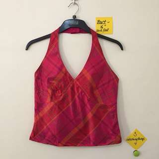 ❗️REPRICED ❗️Ann Taylor 💯% Silk Plaid Red Halter Top