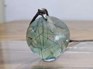 天然 綠髮晶 水晶 925 吊咀 8.0g (包郵)