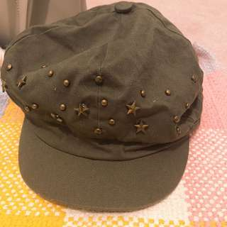 Army green studded cap