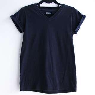 Hanes V Neck Shirt w/ Folded Sleeves