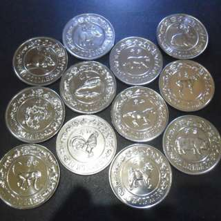 1981 to 1992 Singapore $10 Cu-Ni Lunar Coin Set