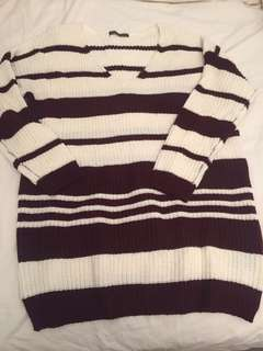Knitted wine and cream loose fitted long sleeve