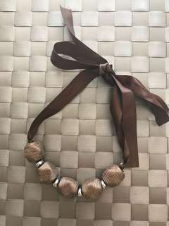 Brown ribbon and thread necklace/choker